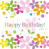 hearts flowers and butterflies happy birthday card