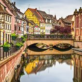 Colmar, Petit Venice Bridge, Water Canal, Traditional Houses. Alsace, France.