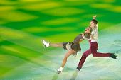 MOSCOW, RUSSIA - FEBRUARY 24, 2014: Victoria Sinitsina and Ruslan Zhiganshin in action during Gala c