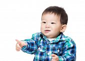 Asia little boy finger pointing front