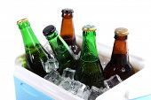 Ice chest full of drinks in bottles, isolated on white
