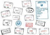 Set of different passport visa stamps