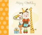Happy Birthday Card With Funny Girl, Animals And Cupcakes