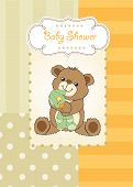 Baby Shower Card With Bear And His Toy