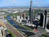 foto of oz  - View over the Yarra river and Melbourne in Victoria in Australia - JPG
