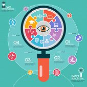 Puzzle in the form of an abstract magnifying glass surrounded infographic education. Education concept with icons and text
