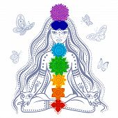 Girl with 7 chakras