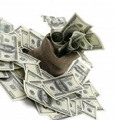 stock photo of sack dollar  - Canvas money sack with one hundred dollar bills - JPG