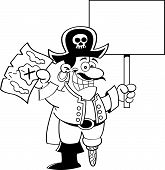picture of peg-leg  - Black and white illustration of a pirate holding a map and a sign - JPG