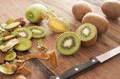 Fresh Kiwi Fruit Being Prepared For Dessert