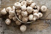 stock photo of agaricus  - Fresh whole white button mushrooms or agaricus in a bowl on a rustic wooden counter ready to be cleaned and washed for dinner overhead view - JPG
