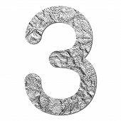 Font Aluminum Foil Texture Numeric 3