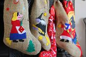picture of epiphany  - Epiphany witch socks in chimney during christmas holidays - JPG