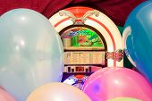 Party balloon jukebox colorful background