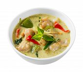 stock photo of clown fish  - Close up clown knifefish ball green curry with sweet basil and chili  - JPG