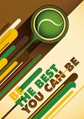 Tennis poster with abstract design. Vector illustration.