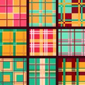 Set of vector seamless plaid patterns