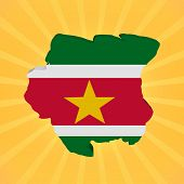 stock photo of suriname  - Suriname map flag on sunburst illustration - JPG