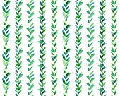 Watercolor seamless pattern with green branches and leaves