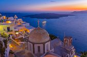 Dusk at Fira Town, Santorini, Greece