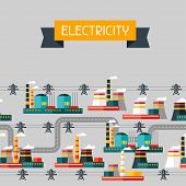 Industry background with industrial power plants in flat style.