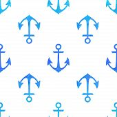 Seamless White Pattern With Blue Anchors