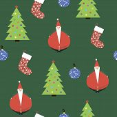 The Background With The Image Of Santa Claus, Christmas Trees, Gifts