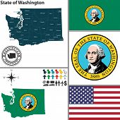 Map Of State Washington, Usa