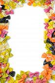 Frane from multicolored farfalle pasta