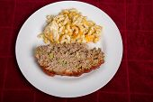 Meatloaf And Macaroni Cheese On Red Towel