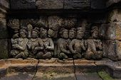 Bas-relief sculptural group at Borobudur on Java