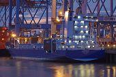 Hamburg-waltershof - Container Vessel At Terminal