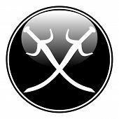 pic of crossed swords  - Crossed swords button on white background - JPG