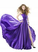 Woman Silk Dress, Long Fluttering Train, Girl Purple Fabric Clothes With Long Hairs, Isolated Over W