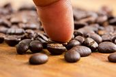 Coffee And Finger On Wooden Background ,concept Select Coffee Beans