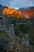 French Riviera, Pre-alpine Landscape: Medieval Village At Sunset