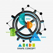Abstract circle geometric infographic diagram, banner option layout. Alphabet, letters A B C D E fig
