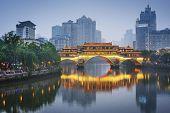 Chengdu, Sichuan, China at Anshun Bridge.