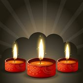 Vector stylish diwali diya background with space for your text