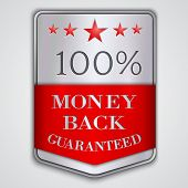 Vector  silver badge label with money back guaranteed  text