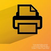 Printer. Flat modern web button with long shadow and space for your text.