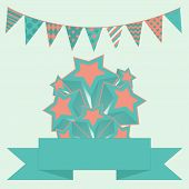 Party bunting background with stars and banner