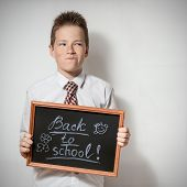 Boy with chalkboard - back to school