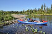 Catamaran For Rafting On The Taiga River.