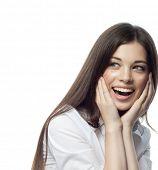 closeup portrait of attractive  caucasian smiling woman brunette isolated on white studio shot lips