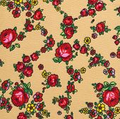 Floral Pattern, Roses Flower Background On Cloth