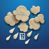 Vector Realistic Clay Cloud and Rain.