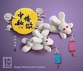 Vector Clay Moon Rabbits of Mid Autumn Festival. Translation, Main: Mid Autumn Lovesickness, Second: happy Mid Autumn Festival, Stamp: Blessed Feast.