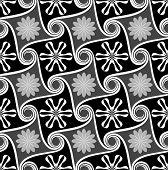 Seamless abstract flower monochrome vector wallpaper.