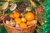 Wicker Basket For New Year's Picnic
